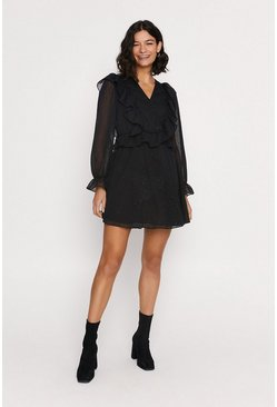 Black Ruffle Skater Dress