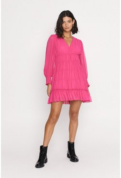 Pink Shirred V Neck Mini Dress