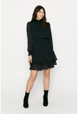 Black Sparkle Shirred Neck Dress