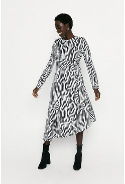Black Zebra Tie Front Midi Dress