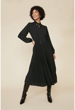 Black Pussy Bow Pleated Midi Dress
