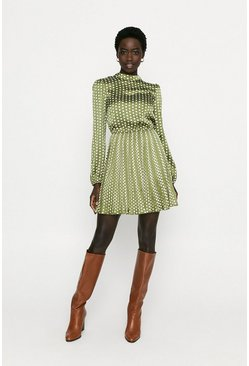 Green Pleated Spot Skater Dress