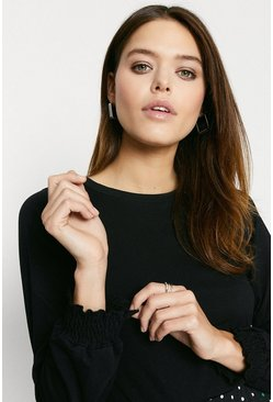 Black Shirred Cuff Long Sleeve Top