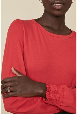 Red Shirred Cuff Long Sleeve Top