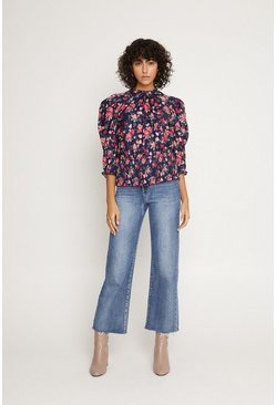 Multi Floral Shirred Hem Blouse