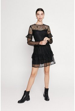 Black Lace Tiered Skater Dress