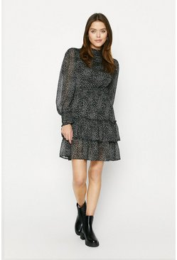 Black Printed Pintuck Skater Dress