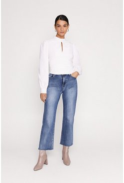 White Cotton Ruched Blouse