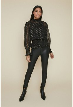 Black Shirred Neck Blouse