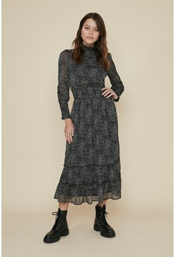 Animal Printed Shirred Waist Midi Dress