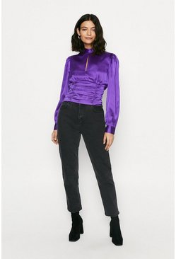 Purple Satin Ruched Blouse