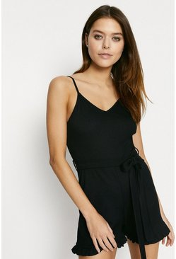Black Rib Frill Playsuit