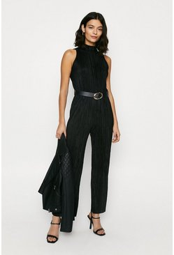 Black Plisse High Neck Jumpsuit