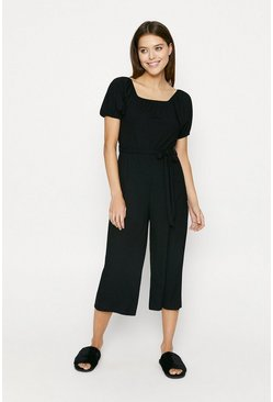 Black Square Neck Puff Sleeve Rib Jumpsuit