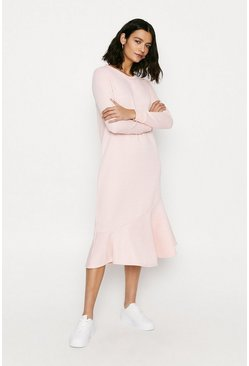 Pink Frill Midi Sweat Dress