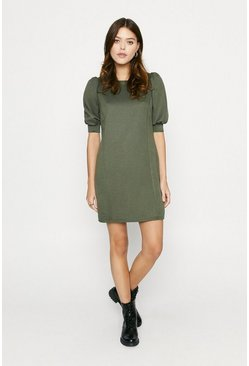 Khaki Structured Sweat Dress