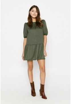 Khaki Drop Waist Sweat Dress