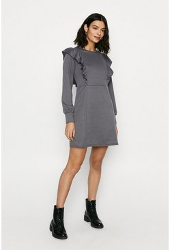 Grey Ruffle Sweat Dress