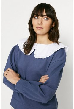 Navy Collar Detail Sweatshirt