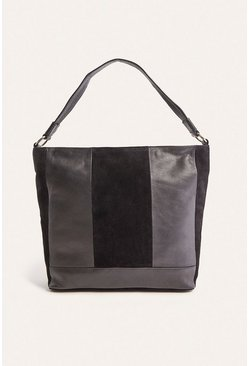 Black Leather and Suede Patched Hobo