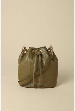 Khaki Leather Bucket Bag