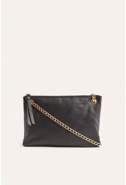 Black Leather Chain Handle Crossbody Bag