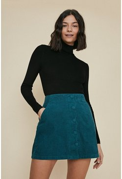 Teal Scallop Placket Cord Skirt