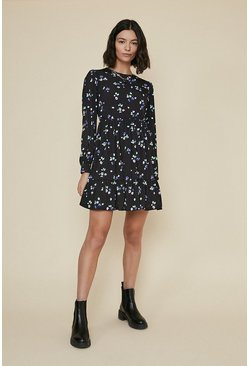 Black Printed Tiered Smock Dress