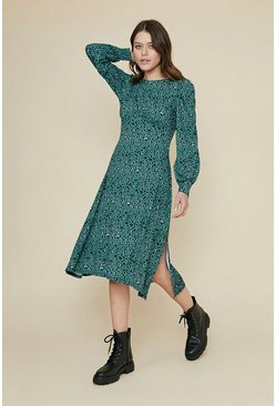 Green Printed Empire Line Midi Dress
