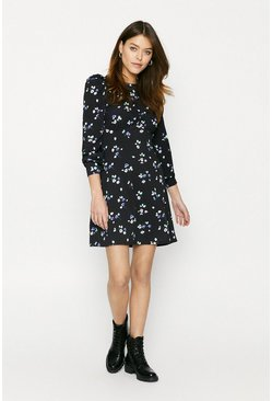 Black Printed Empire Line Fit And Flare Dress