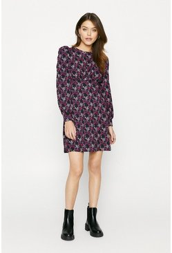 Multi Printed Empire Line Fit And Flare Dress