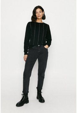Black Diamante Stripe Sweat