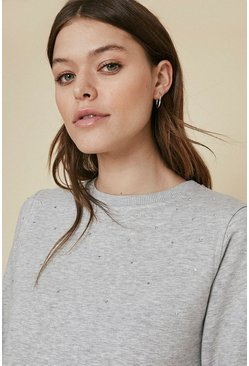 Grey Scatter Diamante Sweat