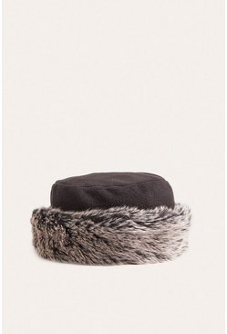 Black Faux Fur Cuff Hat