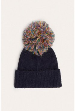 Black Multicolour Yarn Pom Beanie