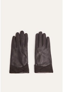 Black Suede Cuff Leather Gloves