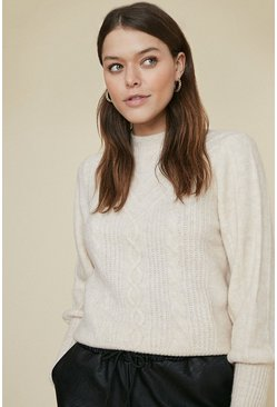 Oatmeal Cabel Soft Knitted Jumper
