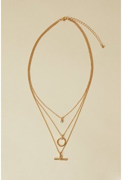 Gold T Bar Layered Necklace