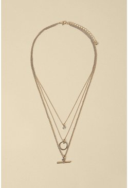 Silver T Bar Layered Necklace