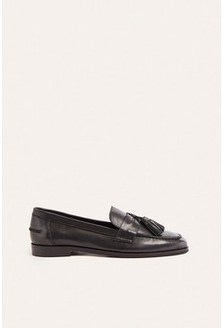 Black Tassel Leather Loafer