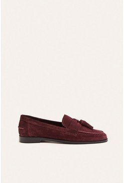 Berry Tassel Suede Loafer