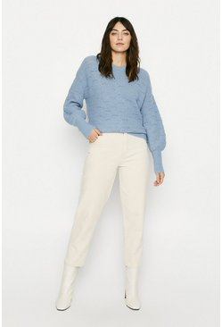 Pale blue Cosy Pointelle Stitch Jumper