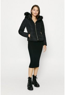 Black Fur Hood Short Puffer Coat