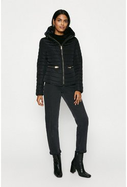 Black Fur Lined High Neck Puffer Coat