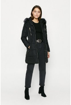 Black Long Fur Hood Puffer Coat