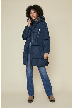 Navy Long Fur Hood Puffer Coat