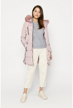 Pink Long Fur Hood Puffer Coat