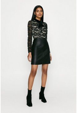 Black Faux Leather Lace Top Dress