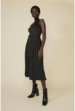 Black Spot Pleated Midi Skirt