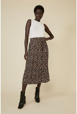 Black Animal Pleated Midi Skirt